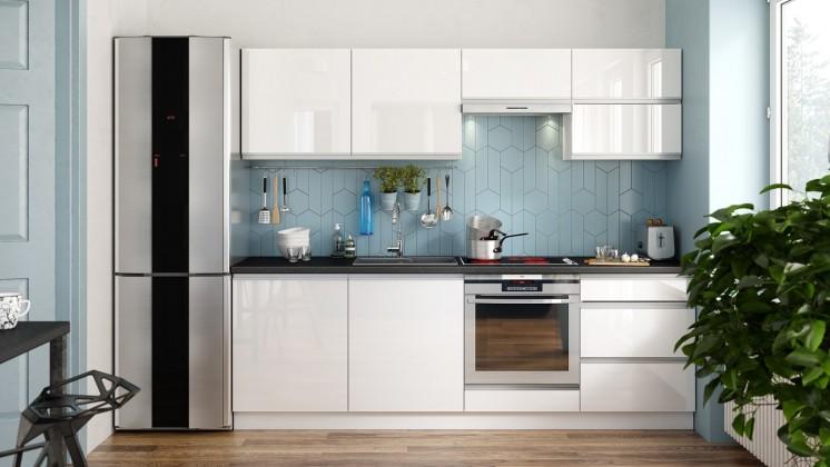 Zlevněné kuchyně, jídelny Kuchyně Maya - 240 cm (bílá vysoký lesk) - II. jakost