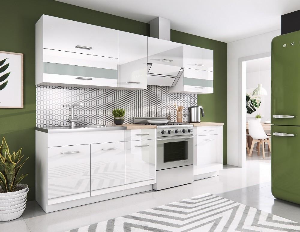 Zlevněné kuchyně, jídelny Kuchyně Rio - 240 cm (bílá vysoký lesk) - II. jakost