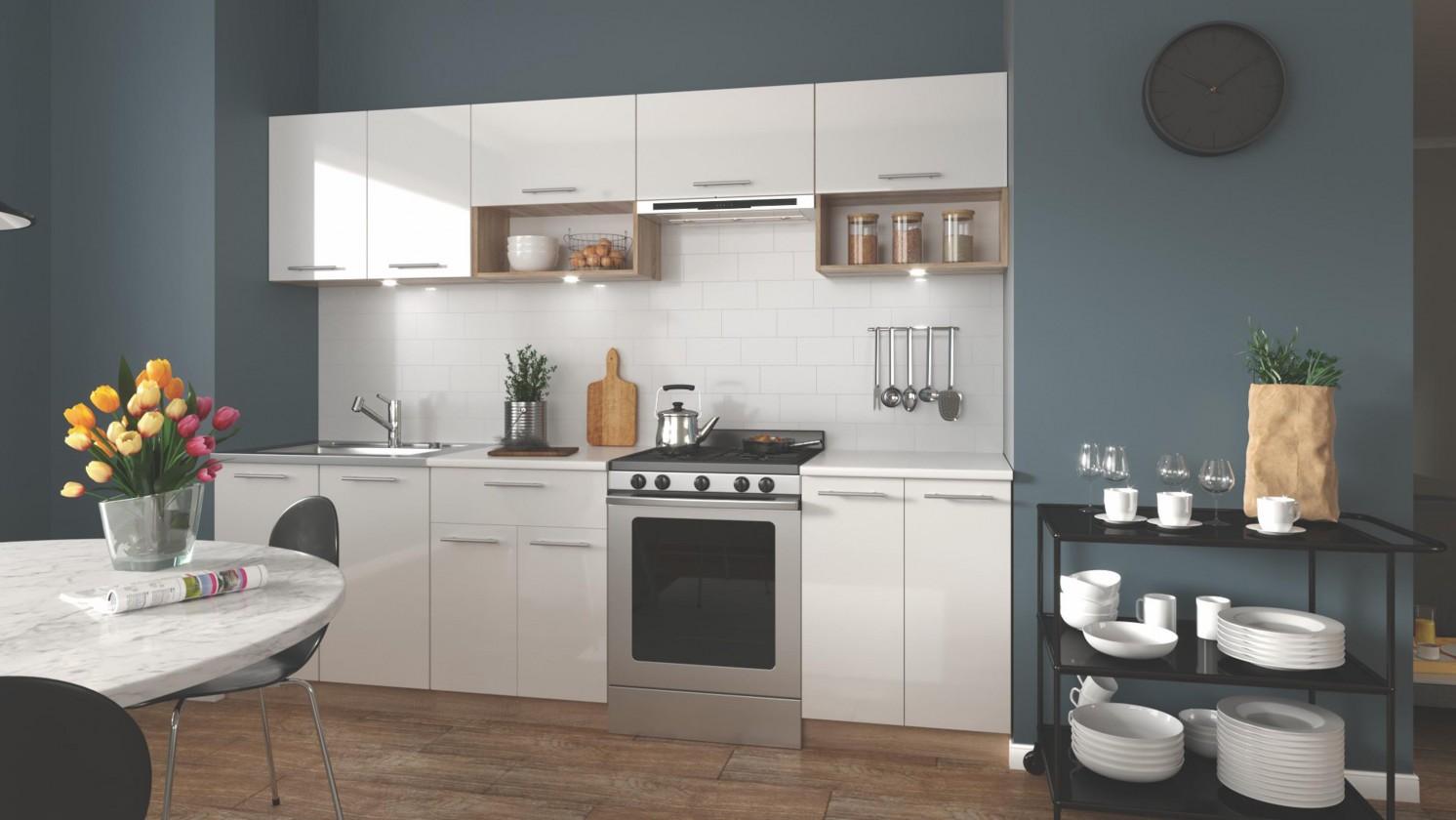 Zlevněné kuchyně, jídelny Kuchyně Viola - 260 cm (bílá/dub sonoma)