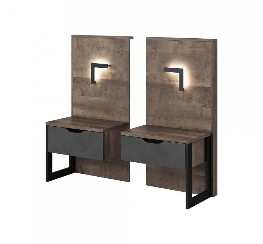 Zlevněné ložnice Noční stolky Laura (dub grande pískový/matera) - II. jakost