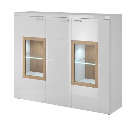 Zlevněné obývací pokoje Box In - Komoda, sklo (bílý korpus/bílý front, dub okraje)