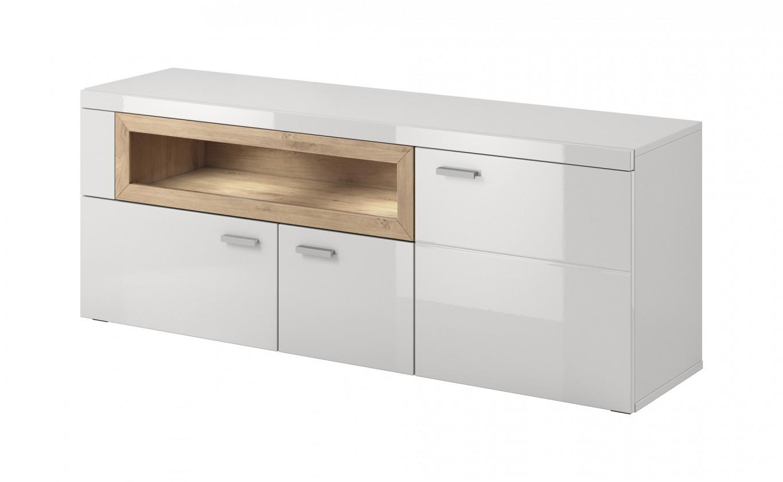 Zlevněné obývací pokoje Box In - TV stolek (bílý korpus/bílý front, dub) - II. jakost