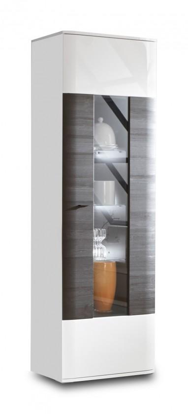 Zlevněné obývací pokoje Denver - Typ 11 (bílá arctic LDTD / černá strukturovaná)