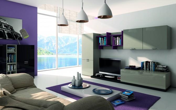 Zlevněné obývací pokoje Fizzy 09 - Obývací stěna (Titanio/Nero/Viola) - II. jakost