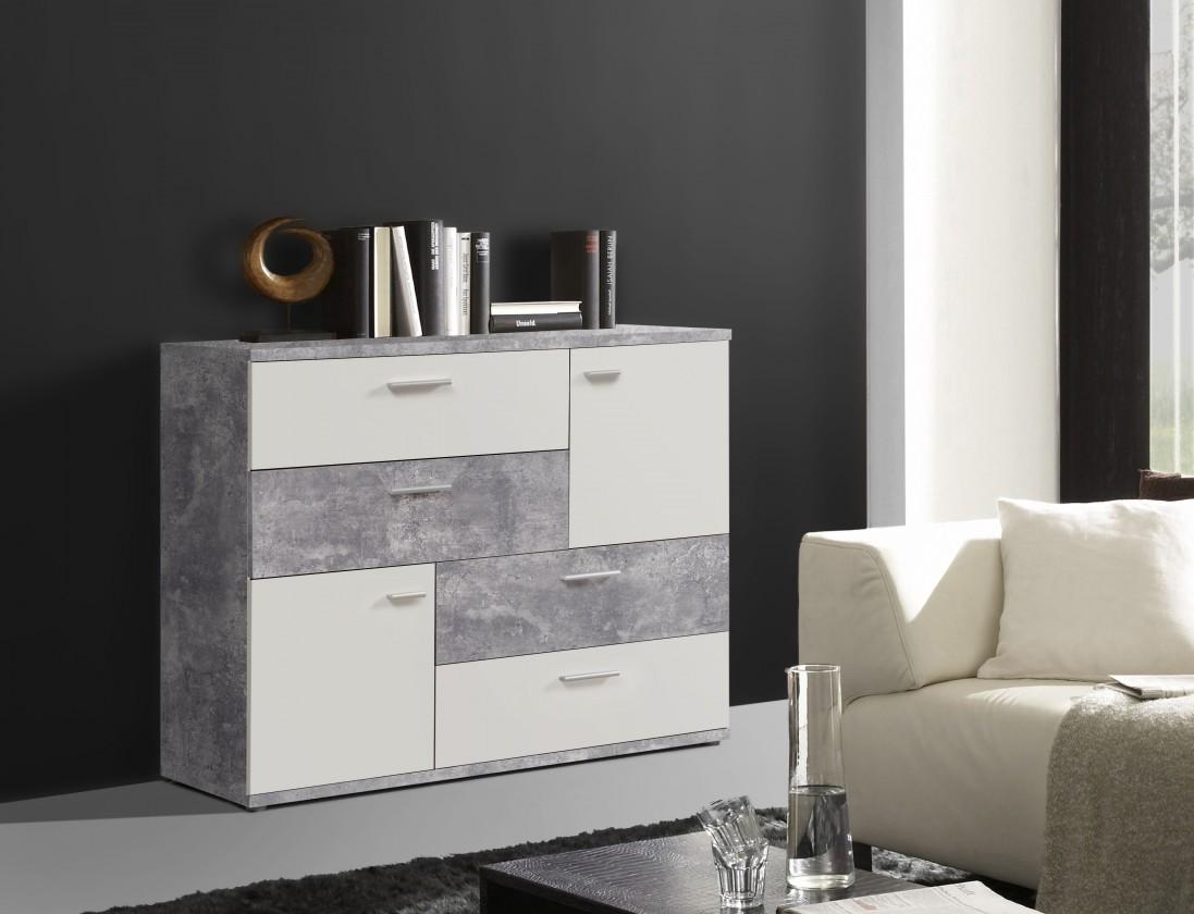 Zlevněné obývací pokoje Komoda Skive (světlý beton/bílá) - II. jakost