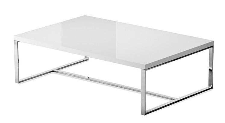 Zlevněné obývací pokoje Konferenční stolek Sushi-C (bílá, chrom) - PŘEBALENO