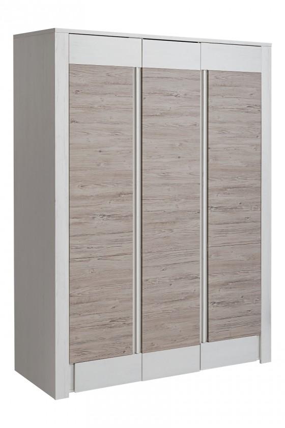 Zlevněné obývací pokoje Skříň Alvo - 3 dvířka (andersen white pine/beige) - PŘEBALENO