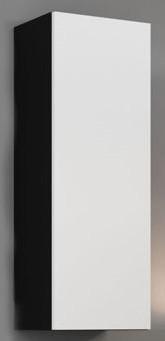 Zlevněné obývací pokoje Vigo - Vitrína závěsná, 1x dveře (černá mat/bílá) - II. jakost