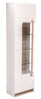Zlevněné obývací pokoje Vitrína Attention-ATNV71LB(bílá/dub sonoma/lesk) - II. jakost