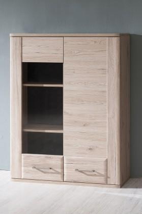 Zlevněné obývací pokoje Vitrína Canby TYP 22 (san remo sand) - PŘEBALENO