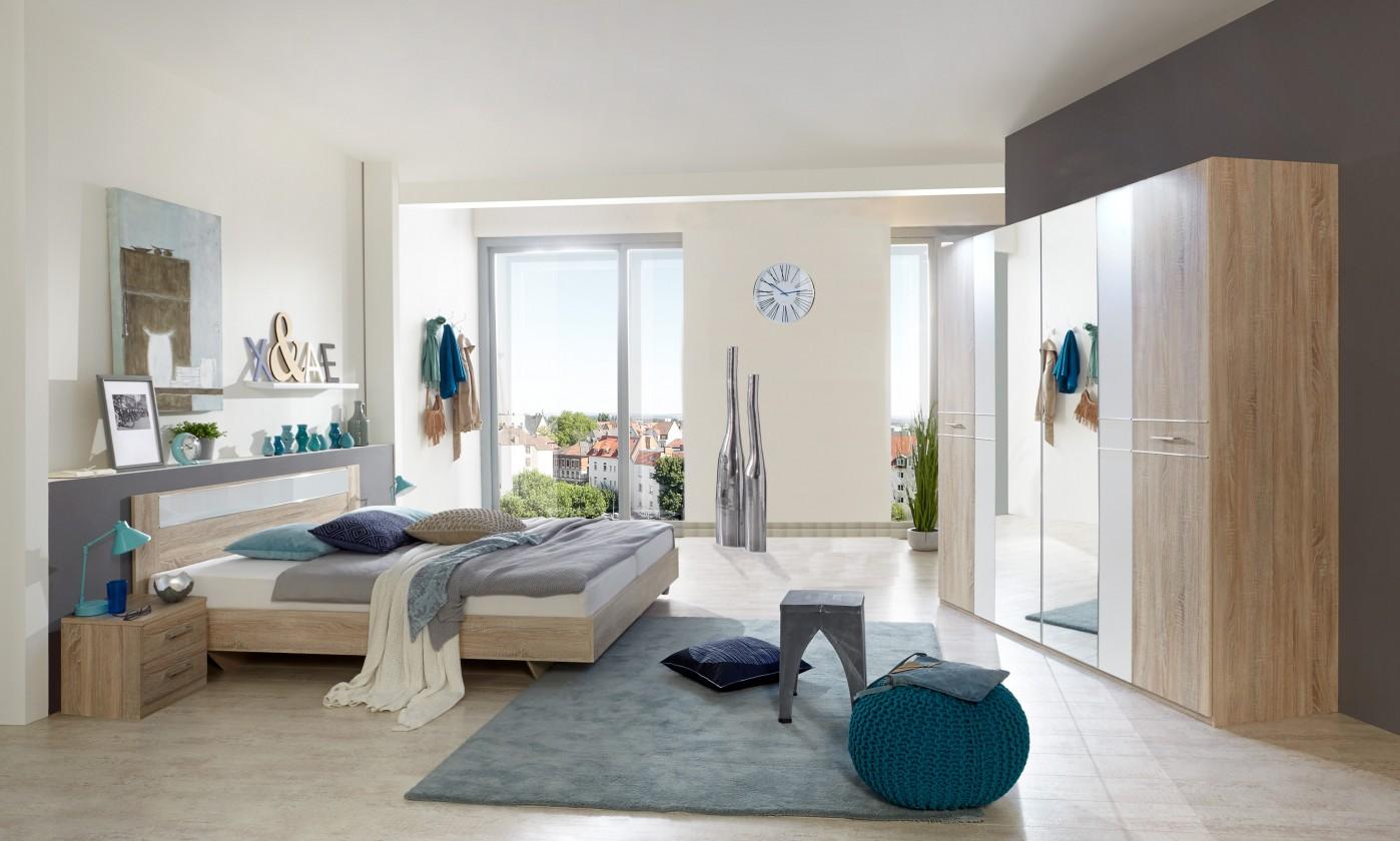 Zlevněné postele Pamela - Komplet postel 180,skříň klasik,stolky (dub,sklo,chrom)