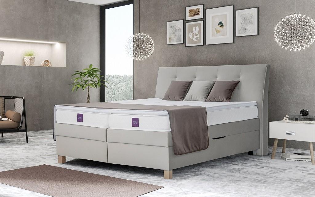 Zlevněné postele Postel Boxspring Charles 180x200 cm, ÚP -II. jakost