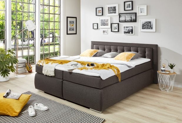 Zlevněné postele Postel Boxspring Prag 180x200, šedá, vč. matrace a topperu