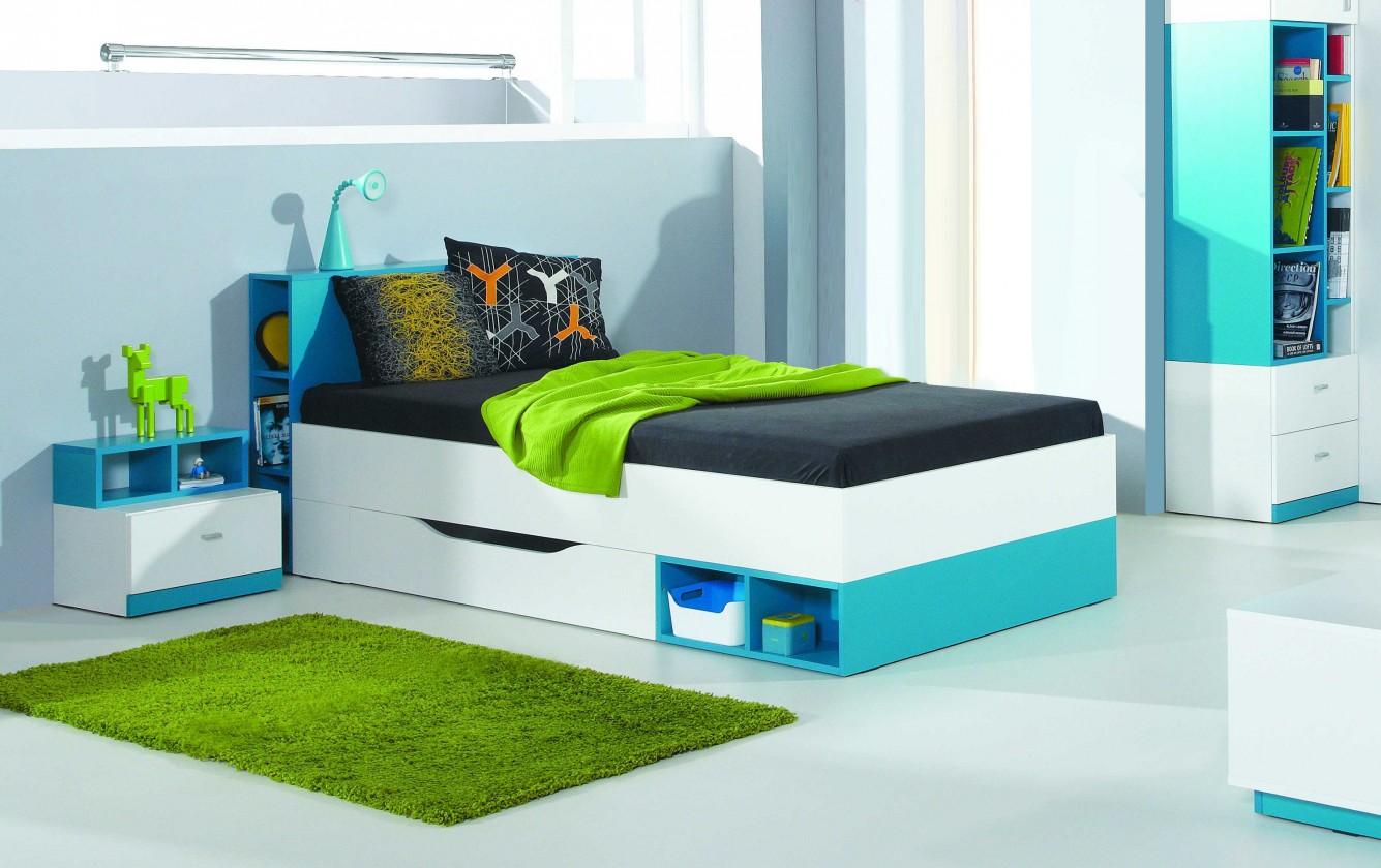 Zlevněné postele Postel MOBI MO 18 (bílá lesk/tyrkysová)