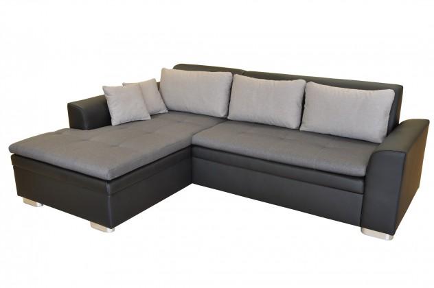 Zlevněné sedací soupravy Rohová sedačka rozkládací Vanilla levý roh ÚP černá, šedá