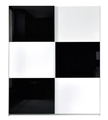 Zlevněné skříně Šatní skříň Colin SZF/183, bílá/černá lesk - II. jakost