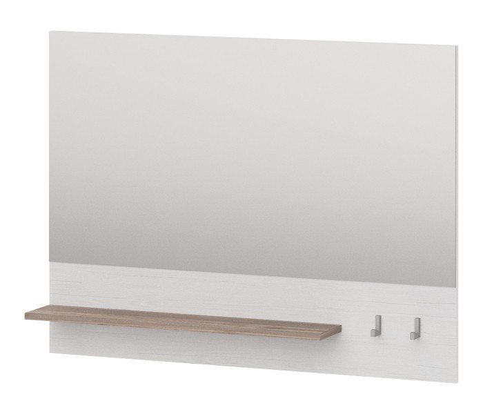 Zrcadlo Semi - Panel se zrcadlem, 1x police, 2x háček (pino aurelio)