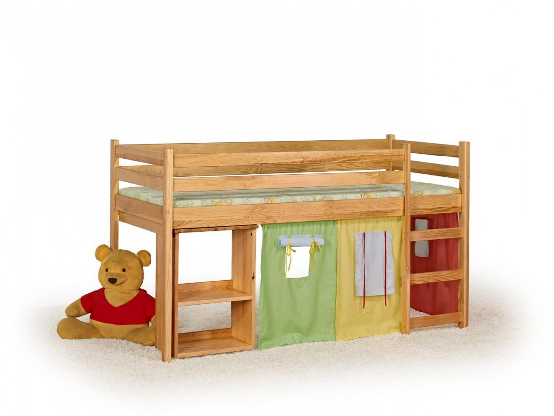 Zvýšená postel Emi - dětská patrová postel včetně matrace (borovice)