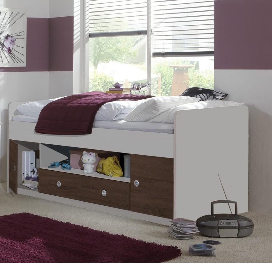 Zvýšená postel Jette - Postel s úložným prostorem (bílá, kolumbijský ořech)