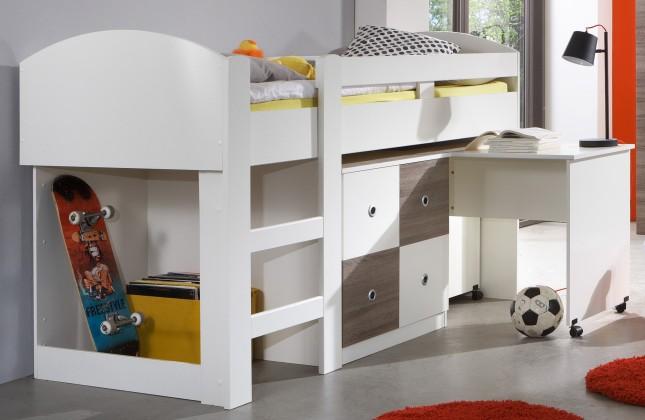 Zvýšená postel Kira-324238(alpská bílá / dub montana)