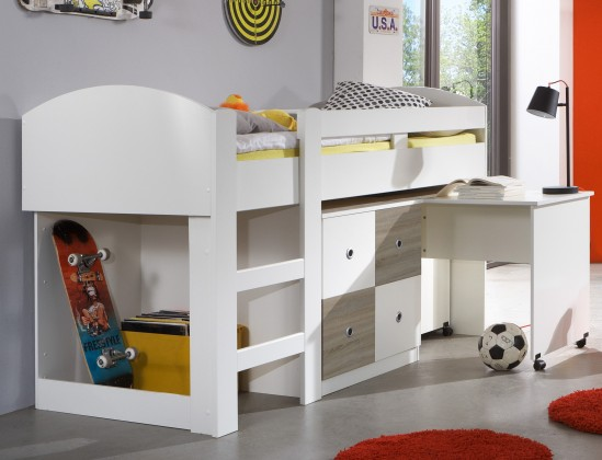 Zvýšená postel Kira-325238(alpská bílá / dub pílený)