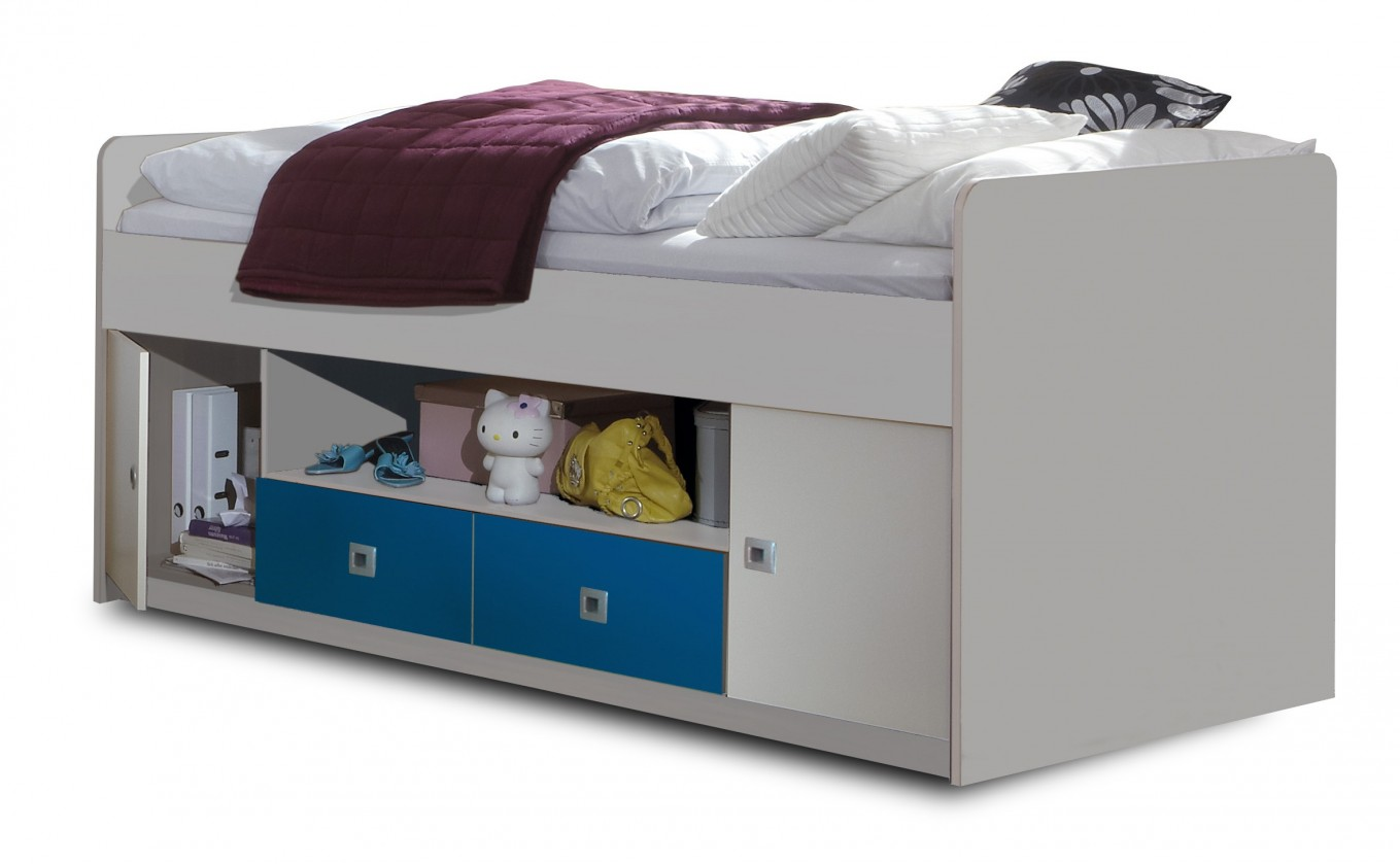 Zvýšená postel Sunny - Postel s úložným priestorom (alpská bílá s modrou)