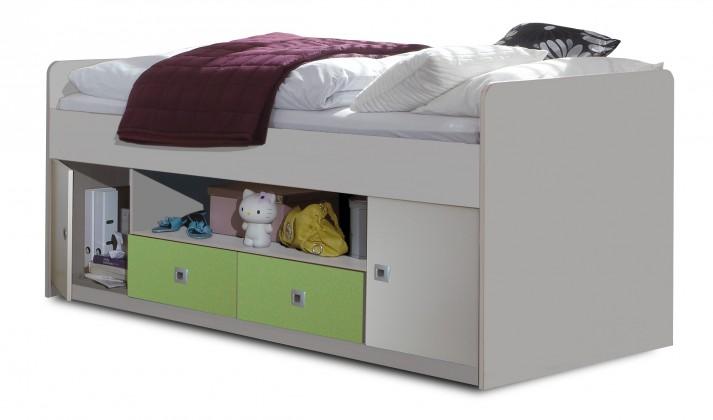 Zvýšená postel Sunny - Postel s úložným priestorom (bílá se zeleným jablkem)