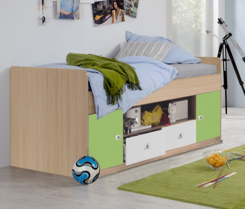 Zvýšená postel Sunny - Postel, s úložným prostorem (zelené jablko/alpská bílá)