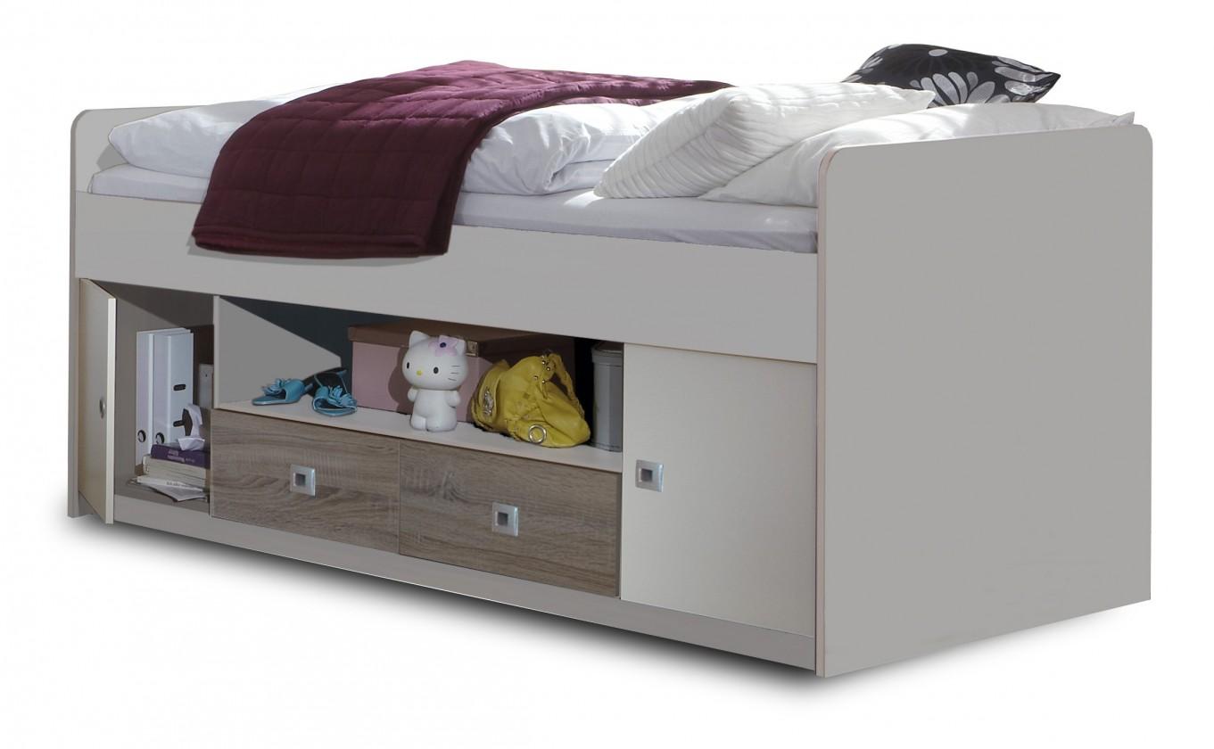 Zvýšená postel Sunny - Zvýšená postel s úložným priestorom (dub, alpská bílá)