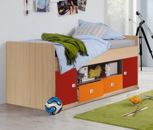Zvýšená postel Sunny - Zvýšená postel, s úložným prostorem (červenooranžová)